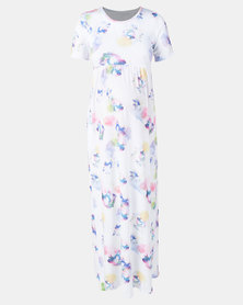 Absolute Maternity Floral  Print Maxi Dress White