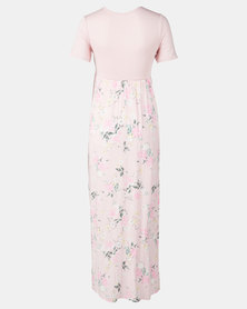 Absolute Maternity Rose Print Crossover Maxi  Dress