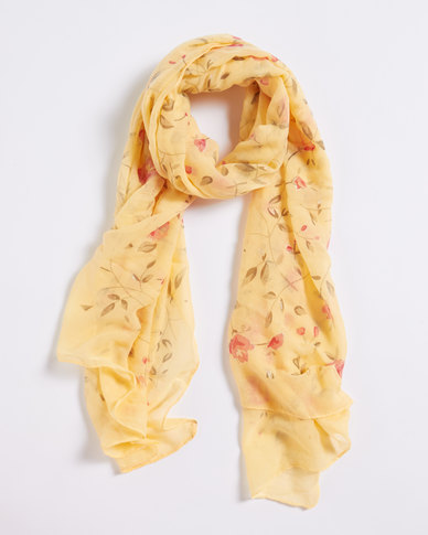 Queenspark Flower Print With Soft Foil Effect Yellow