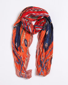 Queenspark Pleated Printed Poly Scarf Orange