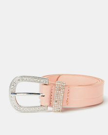 Queenspark Croc Belt With Diamante Buckle Pink