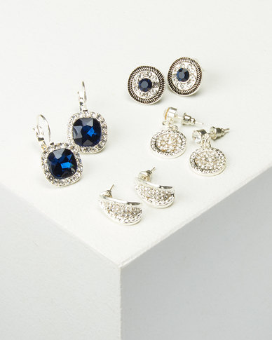 Queenspark 4 Pack 2 Drop Combo Earrings Silver/Colour