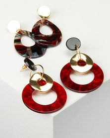 Queenspark 2 Pack Statement Resin Earrings Red
