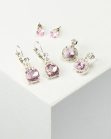 Queenspark 3 Pack Stud /Drop Earrings Pink