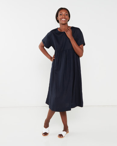 Utopia Linen Tunic Dress Navy