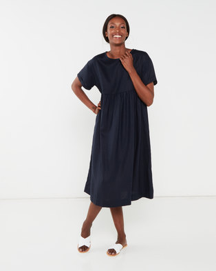 Utopia Linen Tunic Dress Navy