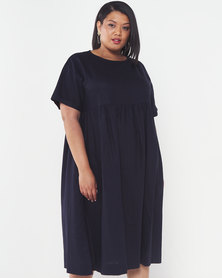 Utopia Plus Linen Tunic Dress Navy