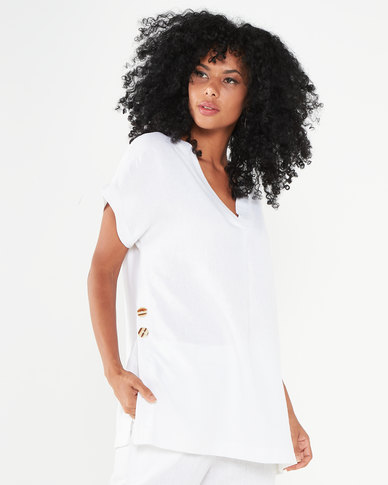 Utopia Linen Tunic Top White
