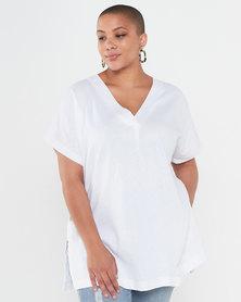 Utopia Plus Linen Tunic Top White
