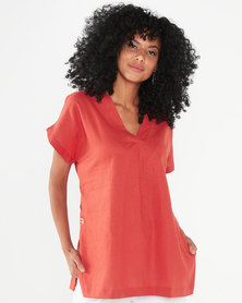 Utopia Linen Tunic Top Rust