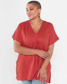 Utopia Plus Linen Tunic Top Rust