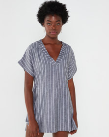 Utopia Stripe Linen Tunic Top Black/White