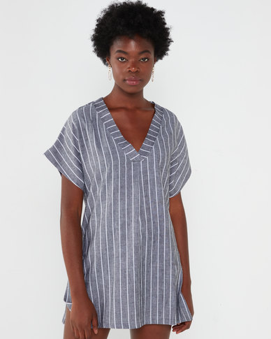 Utopia Stripe Linen Tunic Top Black/White