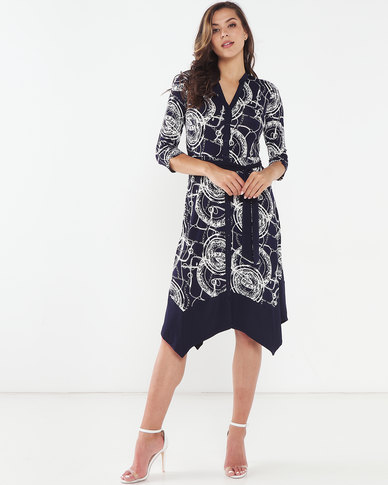 Queenspark Hanky Hem Printed Knit Dress Navy