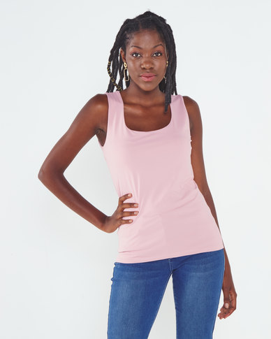 Queenspark Formal Core Knit Cami Pink