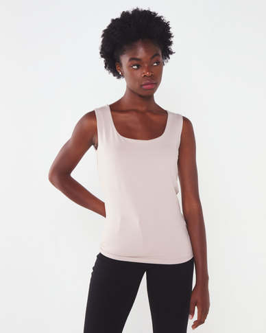 Queenspark Formal Core Knit Cami Stone