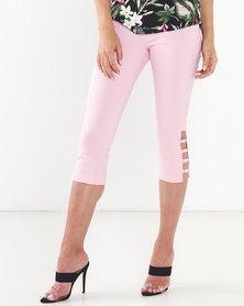 Queenspark Stretch Woven Capri Trouser With Hem Detail Pink