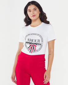 Queenspark Amour Printed Crewneck Knit Top White