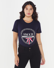 Queenspark Amour Printed Crewneck Knit Top Navy