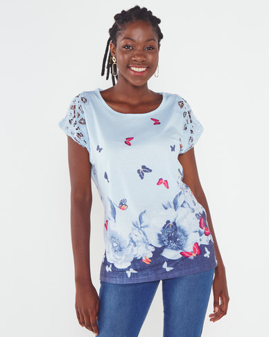 Queenspark Butterfly Border Printed Knit Top Blue