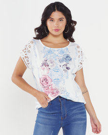 Queenspark Floral Battenberg Printed Knit Top White