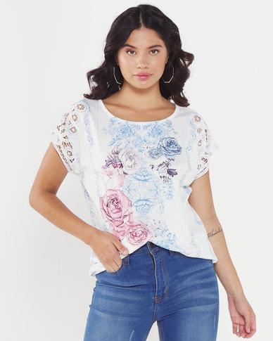 Queenspark Floral Battenberg Printed Knit Top White