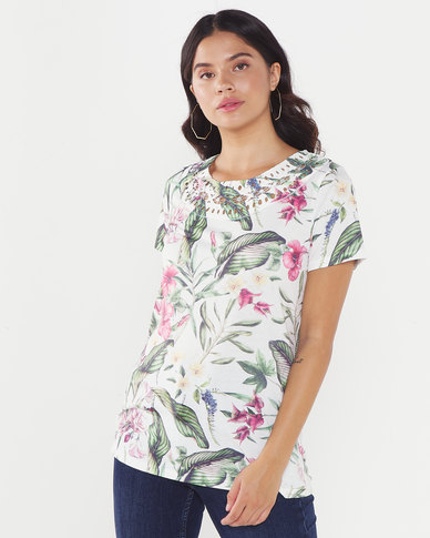 Queenspark Floral Printed Pretty Crew Neck Knit Top White