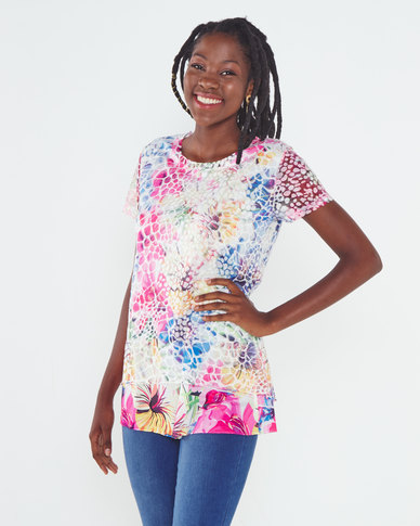 Queenspark Hibiscus Double Layer Fashion Knit Top Multi