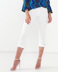 Queenspark Hem Detail Capri Woven Denim Jeans White