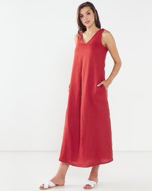 Queenspark Private Label Maxi Sleeveless V-Neck Woven Linen Dress  Red