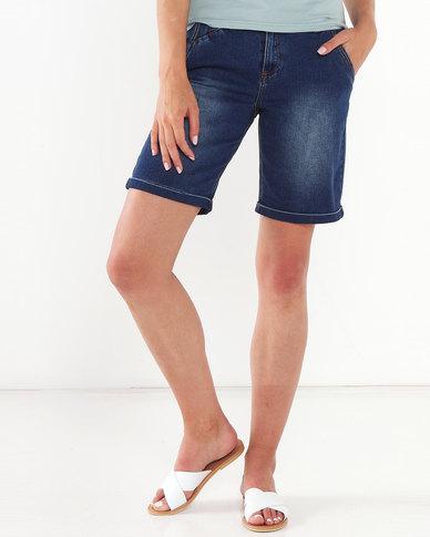 Jeep Stone Wash 30 CM Stretch Denim Shorts Blue