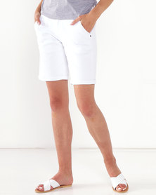 Jeep 30 CM Stretch Denim Shorts White