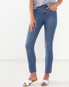 Jeep Stone Wash Straight Leg Stretch Denim Jeans Blue