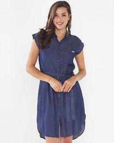Jeep Denim Tencil Military Shirt Dress Blue