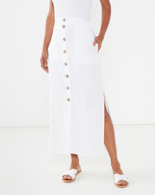 Utopia Linen Button Through Skirt White