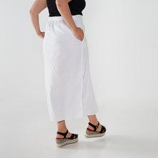 Utopia Plus Linen Button Through Skirt White