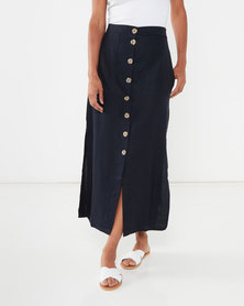 Utopia Linen Button Through Skirt Blue/Stone