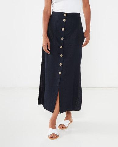 Utopia Linen Button Through Skirt Blue/Stone