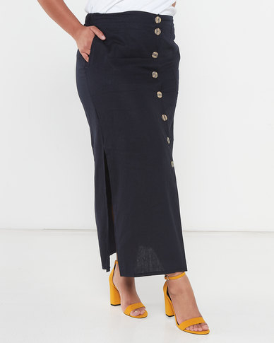 Utopia Plus Linen Button Through Skirt Blue/Stone