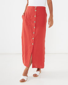 Utopia Linen Button Through Skirt Rust