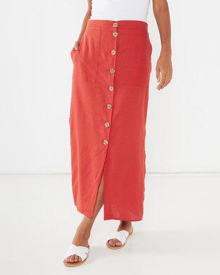 Utopia Linen Button Through Skirt Rust