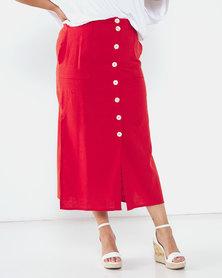 Utopia Plus Linen Button Through Skirt Rust