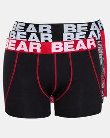 Bear 3PK Geometric Print Bodyshorts Red