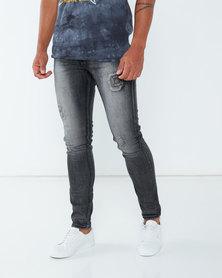 Utopia Straightleg Jeans With Abrasion Black