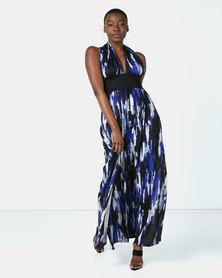 Blue Mango Midnight Blue Maxi Halter Dress