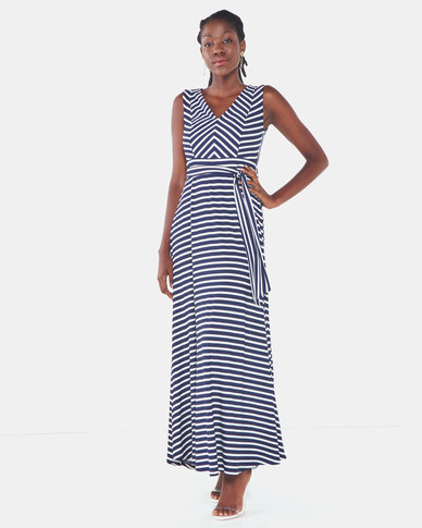 cath.nic By Queenspark Striped Knit Dress Blue