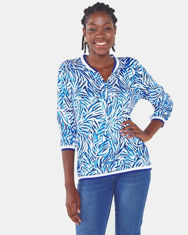 cath.nic By Queenspark Animal Print Knit Pull Over Top Cobalt