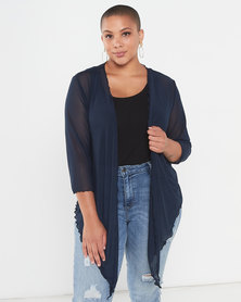 Queenspark Plus Collection Plain Mesh Knit Bolero Jacket Navy