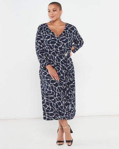 Queenspark Plus Collection Cross Over Printed Knit Dress Navy