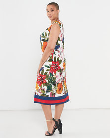 Queenspark Plus Collection Border Floral Printed Knit Dress Multi